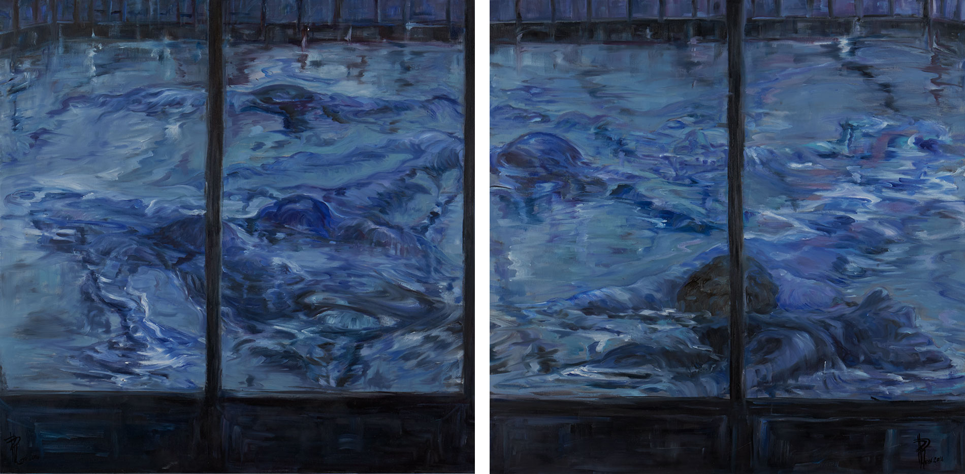 Blu notturno (2014)   dittico right panel     100x200 cm