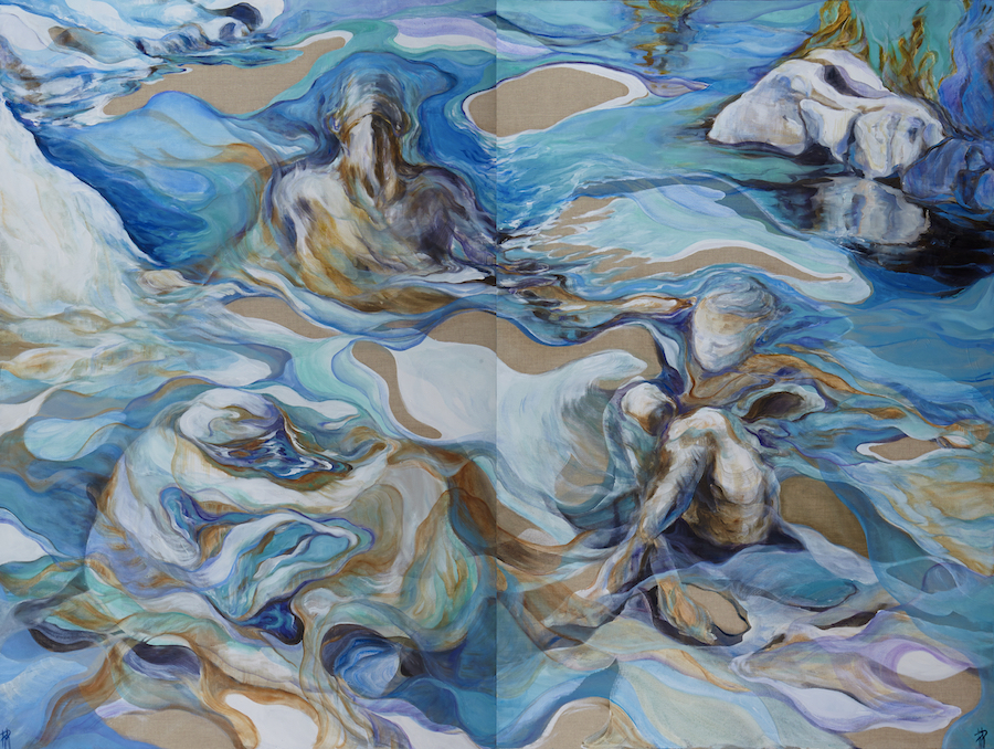 "La forma dell'acqua 2 (2018) -   diptych 150x200 cm <b><a href=""http://www.rossellarossi.net/portfolio-item/la-forma-dellacqua-2/"" target=""_blank""> view more </a></b>"